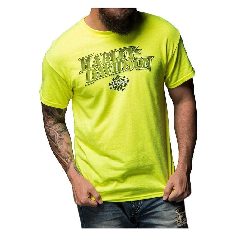 Safety Green Harley-Davidson Men/'s Alliance Chest Pocket Long Sleeve T-Shirt