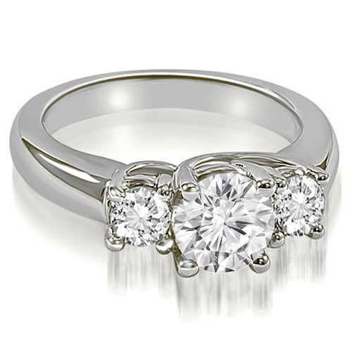 3.15 cttw. 14K White Gold Lucida Three-Stone Round Cut Diamond Engagement Ring