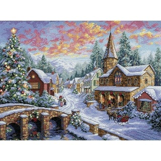 "Gold Collection Holiday Village Counted Cross Stitch Kit-16""X12"" 16 Count"