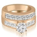 3.15 cttw. 14K Rose Gold Channel Set Princess Cut Diamond Bridal Set - Thumbnail 0