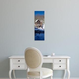 Easy Art Prints Panoramic Image 'House, snow landscape, Glade Creek, Grist Mill Babcock Park, West Virginia' Canvas Art