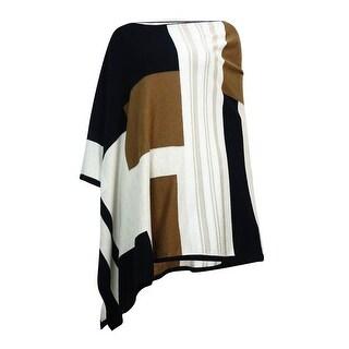 Charter Club Women's Colorblocked V-Neck Knit Poncho