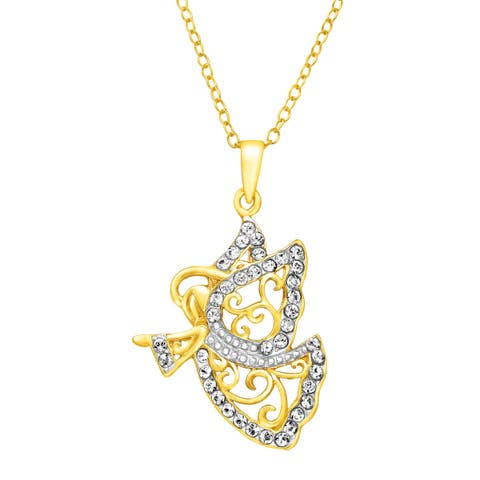 Crystaluxe Guardian Angel Pendant with Swarovski Crystals in 18K Gold-Plated Sterling Silver - Yellow