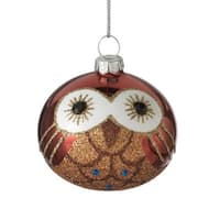 "2.5"" Storybook Garden Bronze Glittered Owl Glass Ball Christmas Ornament"