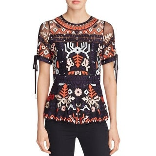 Parker Womens Shannon Blouse Mesh Embroidered - m
