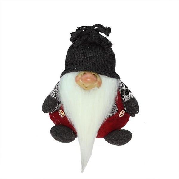 """9.5"""" Red and Charcoal Gray """"Dan"""" Gnome Christmas Tabletop Decoration"""
