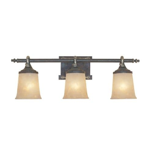"Designers Fountain 97303 Austin Three Light Down Lighting 27.5"" Wide Bathroom Fixture with Satin Crepe Glass Shades"