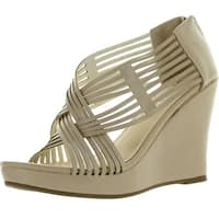 Diviana Kealie-36 Womens Criss Cross Cut Out Platform Back Zip Wedge Sandals