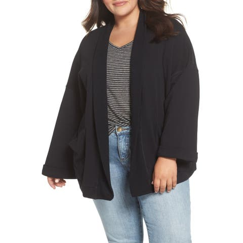 Caslon Black Women's Size 1X Plus Open Front Cardigan Sweater