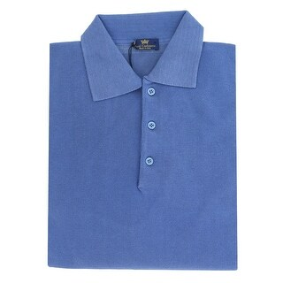 Real Cashmere Polo Big Mens Denim Blue Sweater