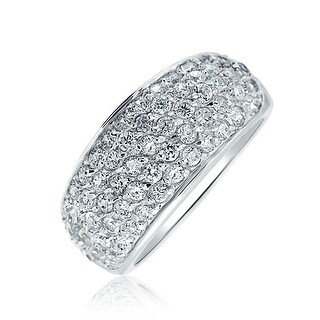 Bling Jewelry 925 Sterling Silver Cubic Zirconia Pave Five Row Ring