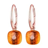 Vedantti Mini Honeycomb Cut Orange Citrine Gemstone Transformer Leverback Earring