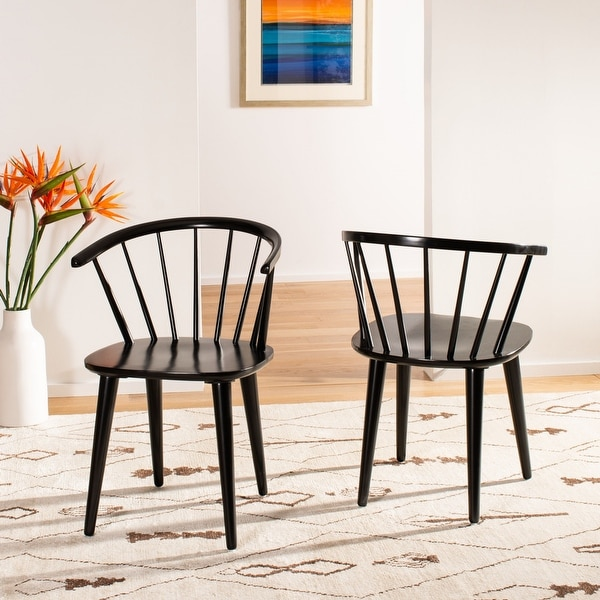 "Safavieh Country Classic Dining Blanchard Black Dining Chairs (Set of 2) - 21.3"" x 20.5"" x 29.9"". Opens flyout."