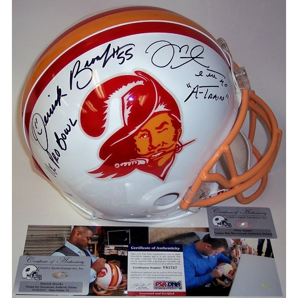 sports shoes 019f2 6974d Mike Alstott & Derrick Brooks Autographed Hand Signed Tampa Bay Buccaneers  Throwback Authentic Helmet - PSA/DNA