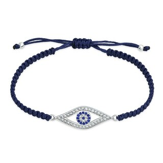 Bling Jewelry Blue Evil Eye CZ Bracelet Shamballa Inspired Sterling Silver
