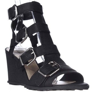 Via Spiga Luxie Ankle-Strap Wedge Sandals, Black