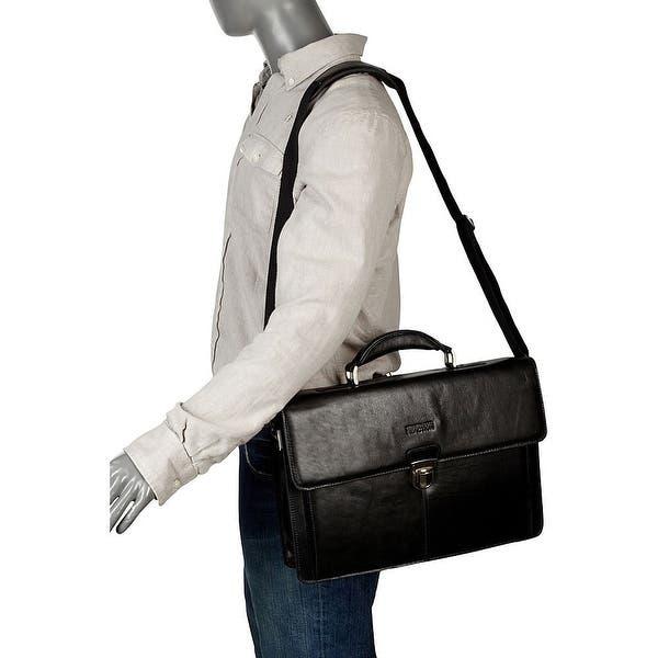 Kenneth Cole Reaction Mens Leather Briefcase Business Case Flapover Portfolio
