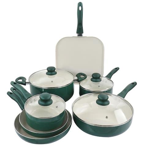 Gibson Home Gazebo Ceramic Nonstick Aluminum 11 Piece Cookware Set in Green