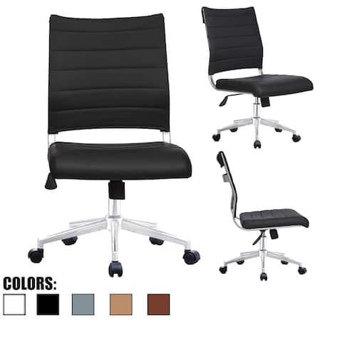 Ergonomic Executive Mid back PU Leather Office Chair Armless Side No Arms Tilt with Wheels Padded Seat Cushion