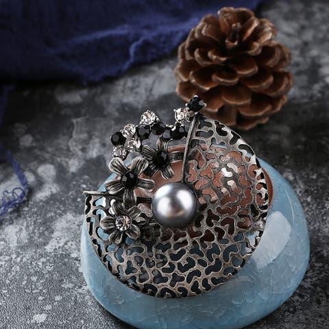Vintage Women Party Jewelry Rhinestone Hollow Flower Brooch Pin Scarf Breastpin