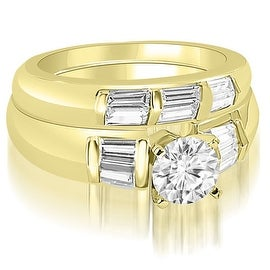 1.60 cttw. 14K Yellow Gold Round And Baguette Cut Diamond Bridal Set