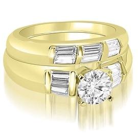 2.10 cttw. 14K Yellow Gold Round And Baguette Cut Diamond Bridal Set
