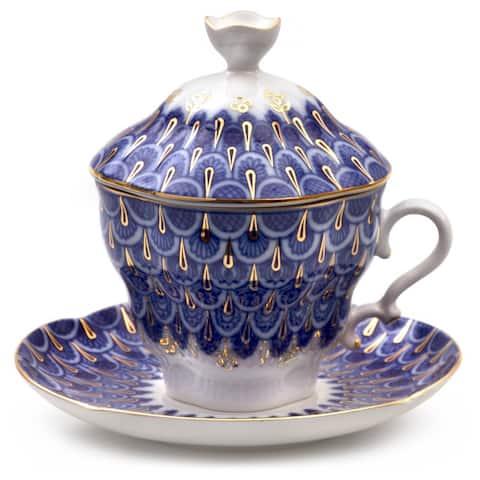 Imperial Porcelain Factory Lamella Teacup w/ Caucer and Lid Set