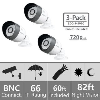 Lot of 3 Samsung SDC-8440BC Weatherproof 720p High Definition Camera (AHD Only)