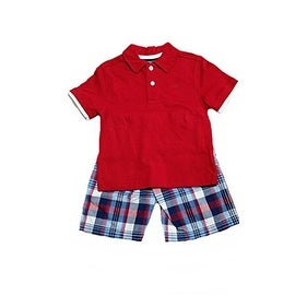 Izodk Little Boys' Size 4-10 - Red Polo Shirt with Plaid Short Set (7) - Multicolored