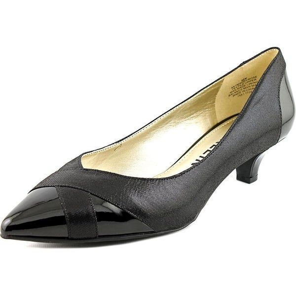 Anne Klein Maddy Rose Women Open-Toe Canvas Black Heels