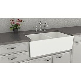 "Double Bowl Farm, Farmhouse Apron Front Fireclay Kitchen Sink, 33"", White, Smooth"