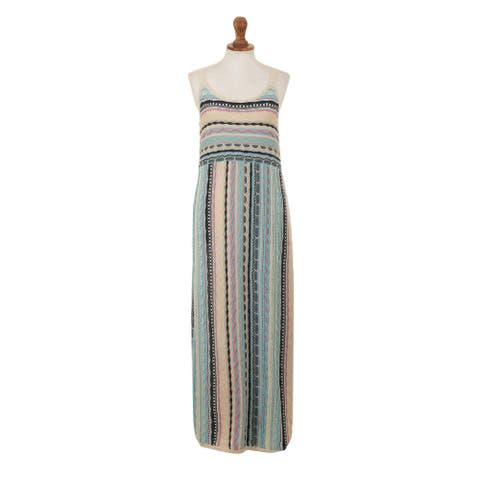 NOVICA Sleeveless cotton maxi dress Berry Charm