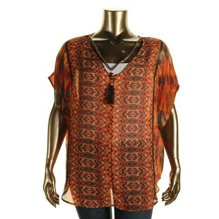 NY Collection Womens Plus Printed Short Sleeves Blouse - 2X