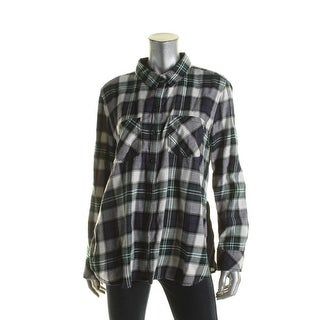 Beach Lunch Lounge Womens Tammy Button-Down Top Plaid Adjustable Sleeves