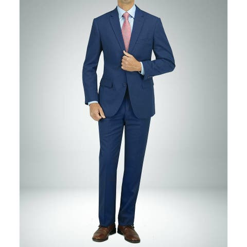Carlo Studio Blue Cross-Weave Pattern Modern-Fit Suit
