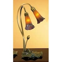Meyda Tiffany 13008 Stained Glass / Tiffany Desk Lamp from the Lilies Collection