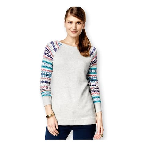 American Living Womens Fair-Isle Sleeves Pullover Sweater, grey, XX-Large