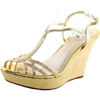 Caparros Bristol Women Open Toe Canvas Gold Wedge Heel