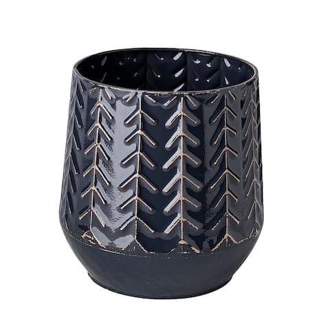 Gemma I Metal Glossy Dark Blue Chevron Vase