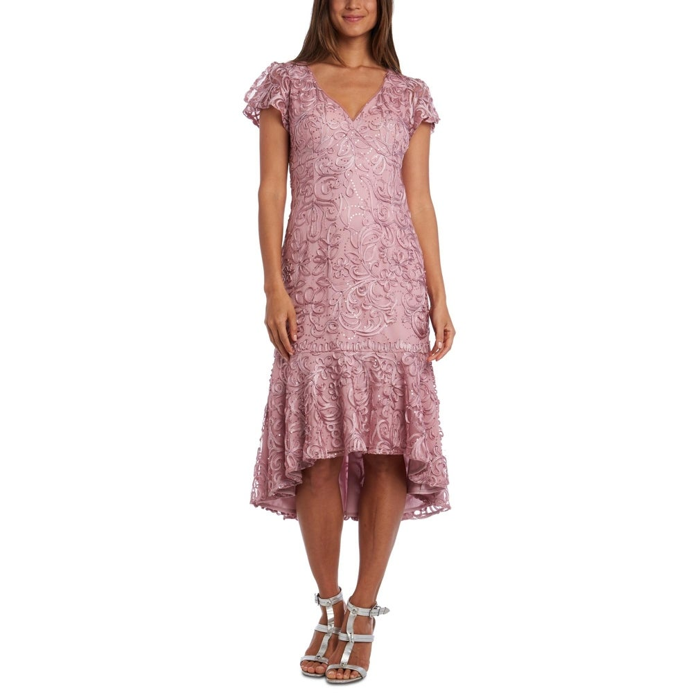 R & M Richards Womens Midi Dress Lace Hi-Low - Mauve by  Read Reviews