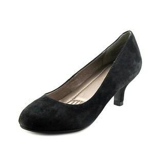 Easy Spirit Reinie Women Round Toe Suede Black Heels