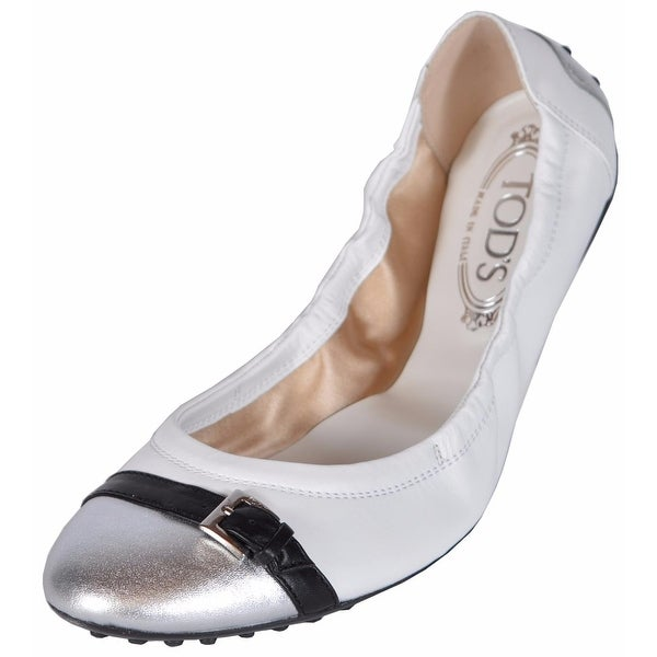 63d77efd0baed Shop Tod's Women's White Leather Dee Buckle Ballerina Ballet Shoes 41.5  11.5 - Free Shipping Today - Overstock - 14427982