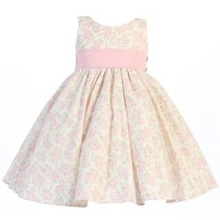 Baby Girls Pink Floral Print Poly Shantung Sash Easter Dress 3-24M