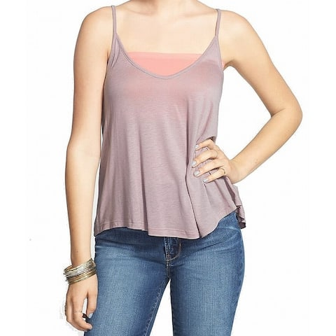 Lush Womens Top Purple Size Large L A-Line Camisole Scoop Neck Sheer