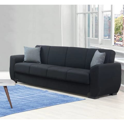 Layton Black Fabric Convertible Sleeper Sofa with Storage