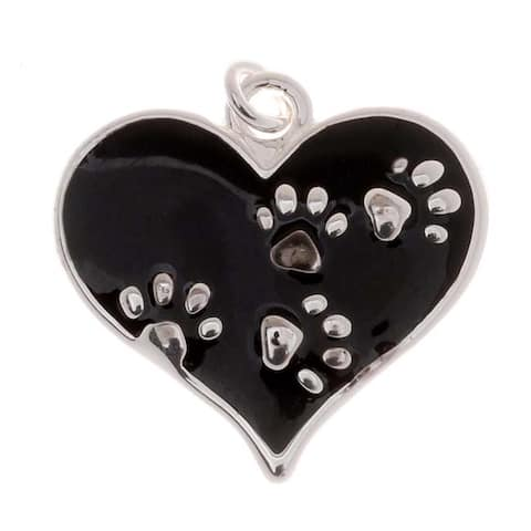 Silver Plated Black Enamel Animal Lover 2-Sided Heart Paw Print Charm 20mm (1)
