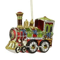 "4"" Multi-Color Glass Train Decorative Christmas Ornament"