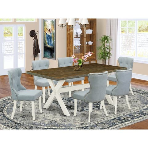 X077SI215-5 5-Piece Dining Table Set- 4 Padded Parson Chairs with Baby Blue Linen Fabric - (Pieces Option)