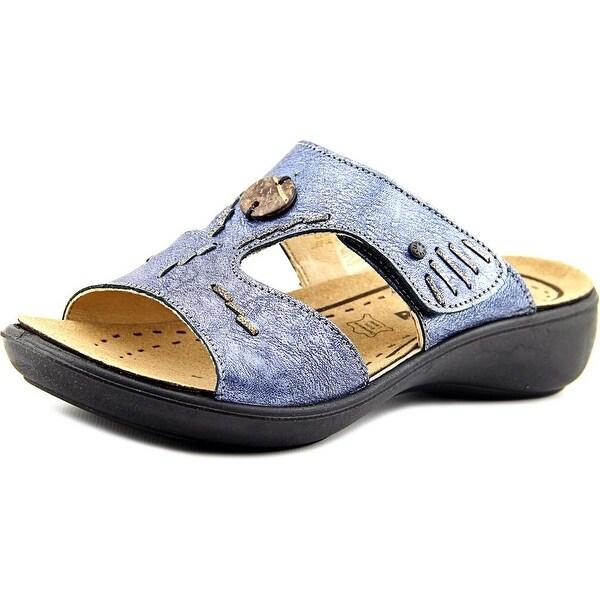 Romika Ibiza 13 Women Open Toe Leather Blue Slides Sandal