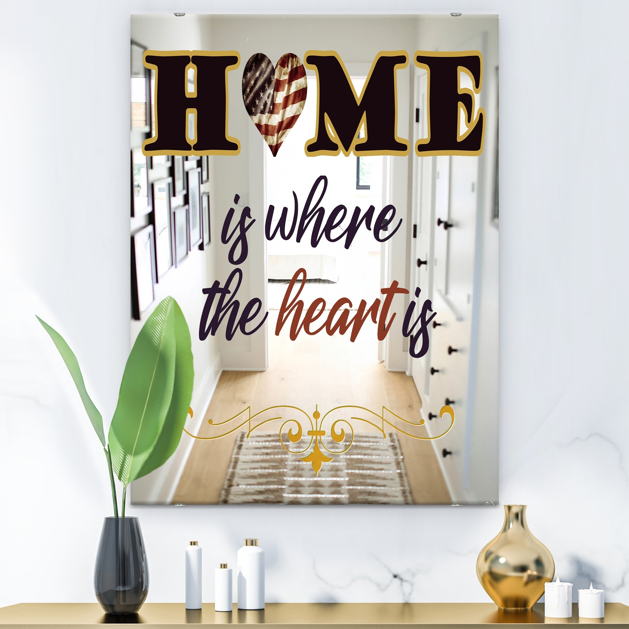 Designart Home Is Where The Heart Is America Modern Mirror Contemporary Large Wall Mirror On Sale Overstock 28022271